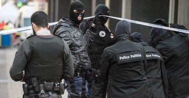 Belgian police arrive at Maelbeek Metro station shortly after an explosion occurred in Brussels, Belgium, on March 22, 2016. (Photo: Christophe Petit Tesson /EPA/Newscom)