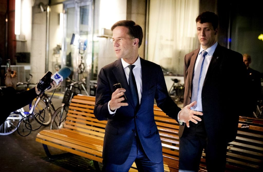 Dutch Prime Minister Mark Rutte of the People's Party for Freedom and Democracy retained his grip on power, but he still must form a coalition government. (Photo: Remko De Waal/EPA/Newscom)