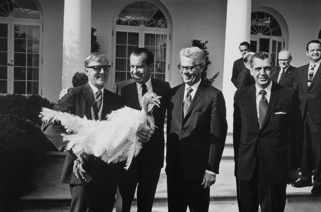 President Richard Nixon receives a Thanksgiving Turkey a ritual started by Harry Truman in the 1940s. (Photo: Newscom)