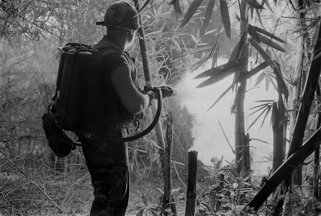 A U.S. soldier clears a jungle area with his flame thrower. May 22, 1970. (Photo: evhistorypix/Newscom)