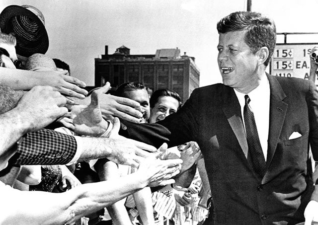 President John Kennedy shakes hands as he arrives to give a speech at Independence Hall. July 4, 1962. (Photo: CSU Archives/Everett Collection)