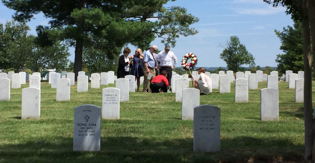 Ken Stethem's family visits his younger brother Robert's grave at Arlington National Cemetery in Virginia. (Photo: Ken Stethem)