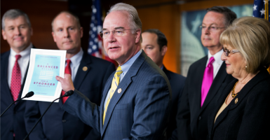 Rep. Tom Price, R-Ga., chairman of the House Budget Committee, displays a Republican budget blueprint that aims to balance in 10 years. Democrats criticized the plan for cutting spending, and have prevented it from being implemented. (Photo: Tom Williams/CQ Roll Call/Newscom)