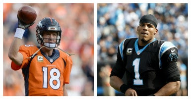 Quarterbacks Cam Newton (right) and Peyton Manning (left) may be on different teams, but they share beliefs. (Photo of Manning: Nell Redmond/UPI/Newscom and Photo of Newton: Ron Chenoy/USA Today Sports/Newscom)