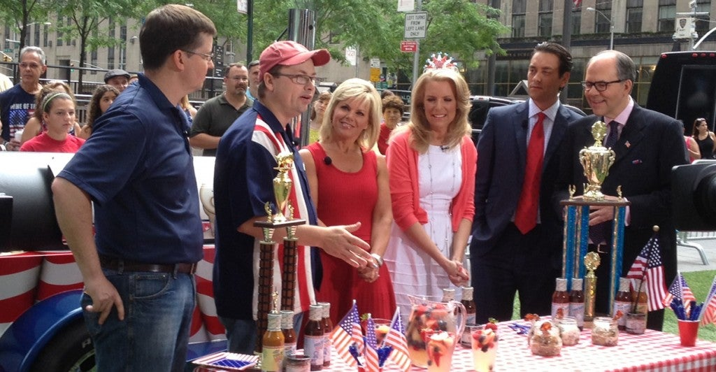 Hall and Thompson during an appearance on Fox and Friends. (Photo: Courtesy Pork Barrel BBQ)
