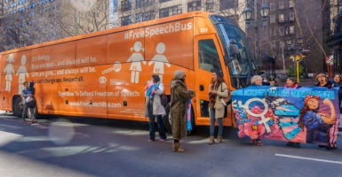 "The purpose of the Free Speech Bus, sponsored by three pro-marriage groups, is to convey the message  that ""we are made male and female and that's rooted in biology and can't be changed."" (Photo: Erik McGregor/Sipa USA/Newscom)"