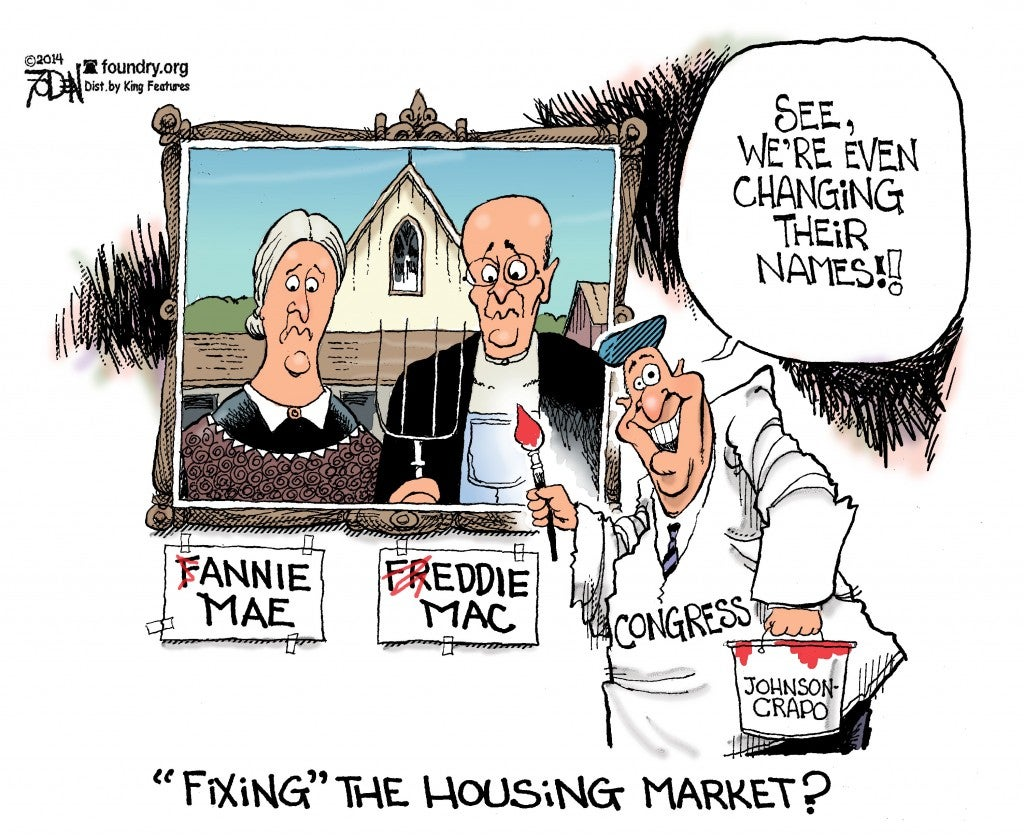 Johnson Crapo housing cartoon Fannie Freddie