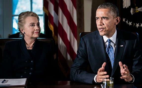 Hillary Clinton and Barack Obama. (Photo: T.J. Kirkpatrick/Newscom)