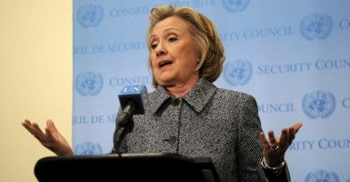 Hillary Clinton talked to reporters about her use of her personal e-mail while at the State Department. (Photo: Dennis Van Tine/ZUMA Press/Newscom)