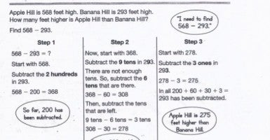 Sample math from a third-grade textbook used in Common Core.