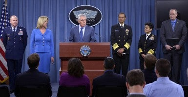U.S. Defense Secretary Chuck Hagel speaks at a news briefing at the Pentagon in Washington D.C. on Nov. 14, 2014. (Photo: Newscom)