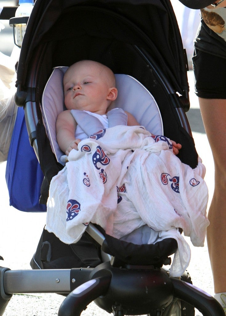Baby Jack at the Farmers Market in Studio City, Calif. with his parents. (Photo: Newscom)