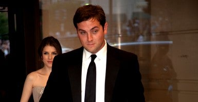 Luke Russert arrives at the Washington Hilton for the White House Correspondents dinner. (Photo: Jeff Malet/Newscom)