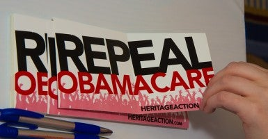 'Repeal Obamacare' bumper stickers. (Photo: Jeff Malet/Newscom)