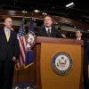 Conservatives gathered to urge Senate Democrats to allow debate on Homeland Security Funding Feb. 12, 2014. Rep. Mick Mulvaney, R-S.C., takes the podium. (Photo: Jeff Malet/Newscom)