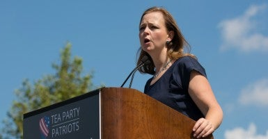 Tea Party Patriots co-founder Jenny Beth Martin speaks at a rally to voice opposition to the Iran nuclear agreement on the West Lawn of the United States Capitol in Washington D.C. on Wednesday, September 9, 2015. (Photo: Jeff Malet/Newscom)