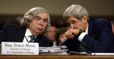 U.S. Secretary of State John Kerry and Energy Secretary Ernest Moniz attend a hearing of the Senate Foreign Relations Committee on Capitol Hill in Washington D.C. (Photo: Yin Bogu Xinhua News Agency/Newscom)