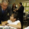 Bush traveled to Chicago to celebrate the six-year anniversary of the No Child Left Behi