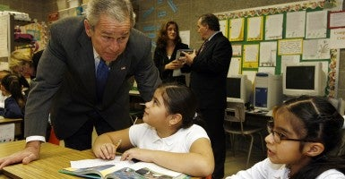 Bush traveled to Chicago to celebrate the six-year anniversary of the No Child Left Behind Act in 2008. (Photo: Heather Stone/Chicago Tribune/Newscom)