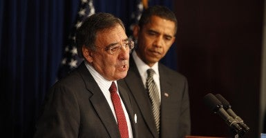 President-elect Barack Obama listens as his appointee for CIA Director, former Clinton administration White House chief of staff, Leon Panetta speaks at a news conference at his transition office in Washington Jan. 9, 2009.  (Photo: Chuck Kennedy/MCT)