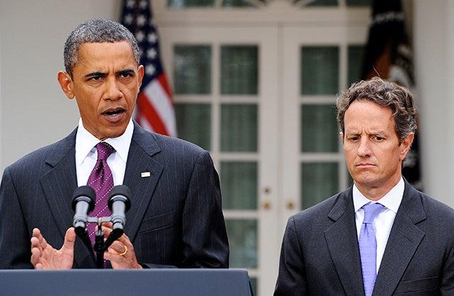 President Barack Obama and former Obama Administration Treasury Secretary Tim Geithner. (Photo: Olivier Douliery/MCT/Newscom)