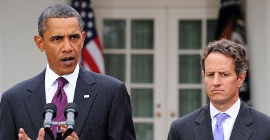 President Barack Obama and former Obama Administration Treasury Secretary Tim Geithner. (Photo: Olivier Douliery/MCT/Newscom)