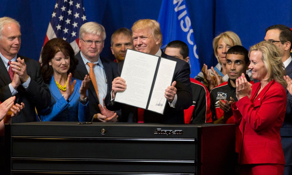 President Donald Trump announces an executive order that directs federal agencies to suggest changes to the H1-B visa program, to ensure visas are awarded to the most skilled, best-paid immigrant workers. (Photo: Mark Hoffman/TNS/Newscom)