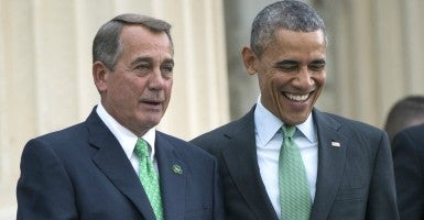 President Barack Obama and Speaker of the House John Boehner, R-Ohio., leave a St. Patrick's Day lunch. (Photo: Kevin Dietsch/UPI/Newscom)