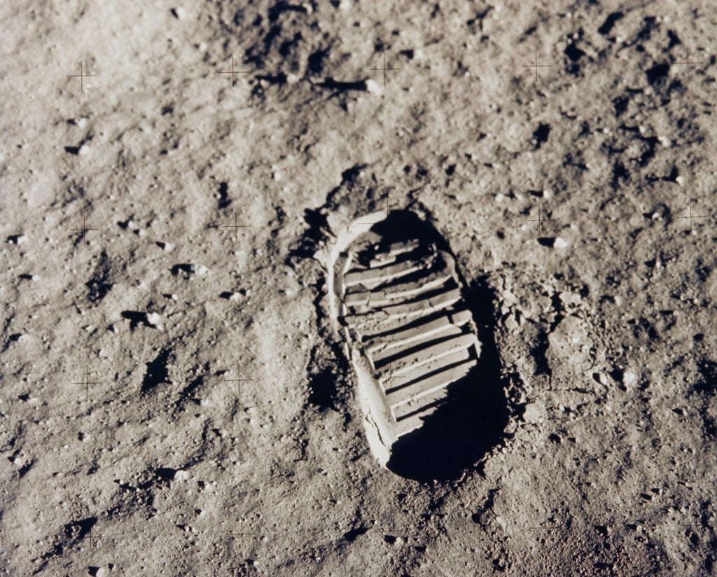 Buzz Aldrin, the pilot of the first lunar landing mission, leaves his bootprint during the Apollo 11 mission on July 20, 1969.  (Photo:NASA/Newscom)