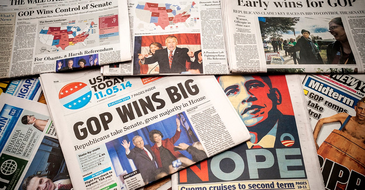 National and local newspapers in New York on Wednesday, November 5, 2014 report on the results of the previous day's mid-term elections. (Photo: Richard B. Levine/Newscom)