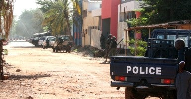 Bamako, Mali - Gunmen shouting Islamic slogans attacked the Radisson Blu hotel, which is frequented by foreigners, taking 170 people hostage in Bamako, the country's capital. At least 27 people were reported dead after Malian commandos stormed the hotel and dozens of people were reported to have escaped or been freed.(Photo: Harouna Traore/Panoramic/Starface / Polaris/Newscom)