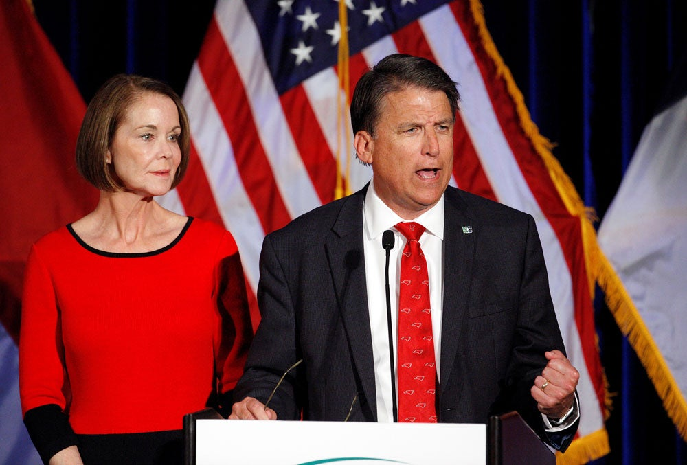 North Carolina Governor Pat McCrory tells supporters that the election results of his contest against Democratic challenger Roy Cooper will be contested, while his wife Ann looks on, in Raleigh, North Carolina on Nov. 9, 2016. (Photo: Jonathan Drake/Reuters)