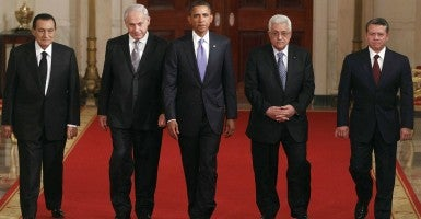 In 2010, President Obama met with then-Egyptian President Hosni Mubarak, Israeli Prime Minister Benjamin Netanyahu, President Barack Obama, Palestinian President Mahmoud Abbas and Jordan's King Abdullah II. (Photo: World History Archive/Newscom)