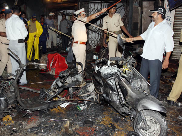 Co-ordinated bomb blasts in Mumbai, India, on July 13, 2011
