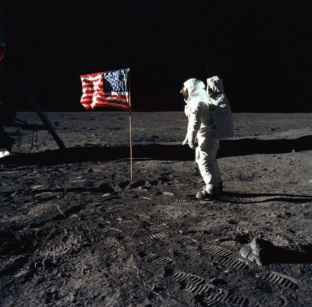 Astronaut Edwin E. Aldrin Jr., poses for a photograph beside the United States flag during an Apollo 11 mission July 20th, 1969. (Photo: NASA)