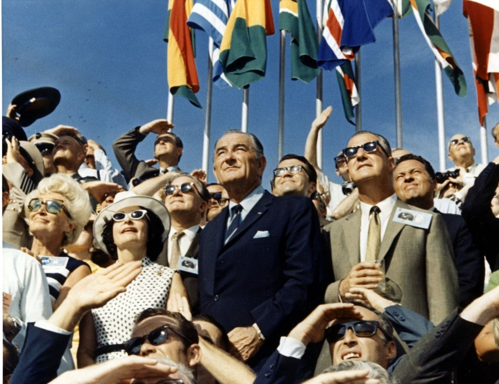 Former President Johnson and former Vice President Spiro Agnew watch the liftoff of Apollo 11 from the Kennedy Space Center, July 16, 1969. (Photo: NASA/KSC)