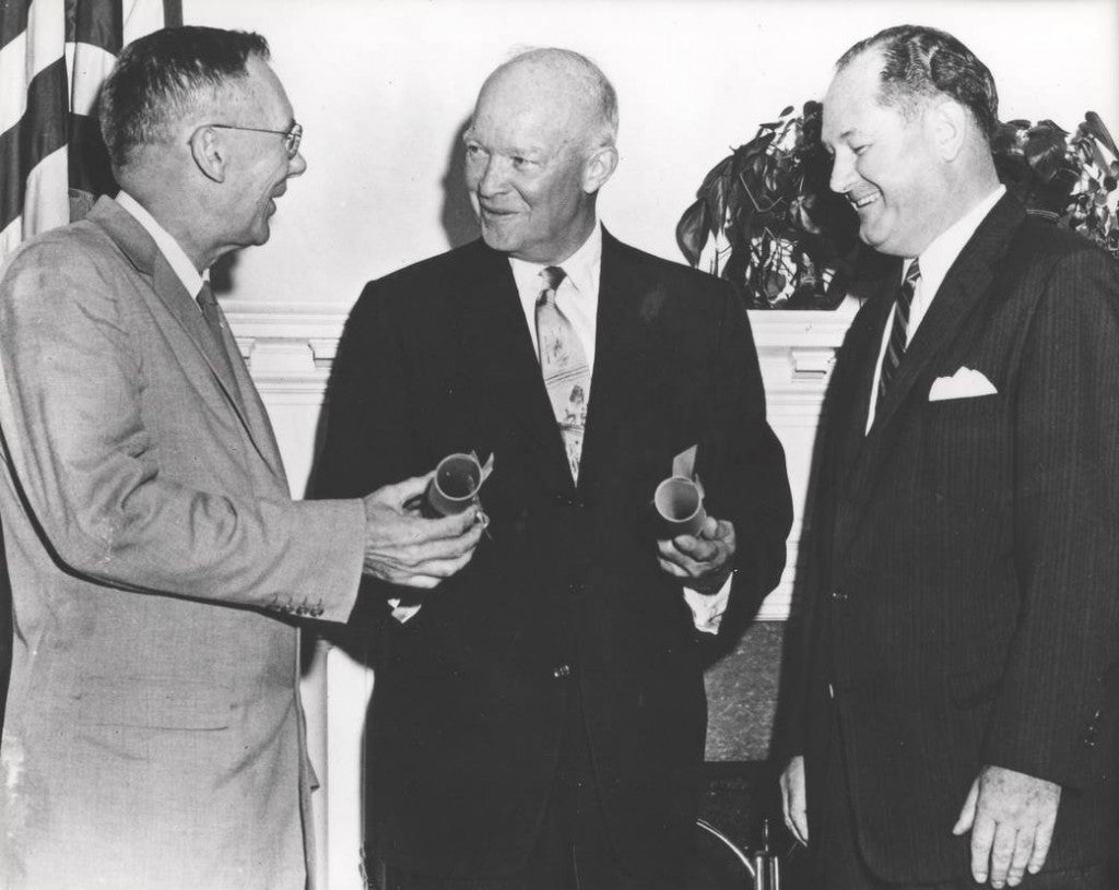 President Eisenhower commissioned Dr. T. Keith Glennan, as the first administrator for NASA and Dr. Hugh L. Dryden as deputy administrator. NASA officially began operations on Oct. 1, 1958, to perform civilian research related to space flight and aeronautics. (Photo: NASA)