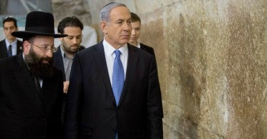 Israeli Prime Minister Benjamin Netanyahu  comes to pray at the Jewish site of the Western Wall in the Old City of Jerusalem. (Photo: CHINE NOUVELLE/SIPA/Newscom)