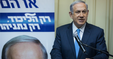 Israeli Prime Minister and Likud Party's leader Benjamin Netanyahu gives a statement to the media. (Photo: Chine Nouevelle/SIPA/Newscom)