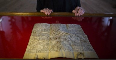 A 1216 impression of the Magna Carta at Durham Cathedral in England. (Photo: James Glossop/Newscom)