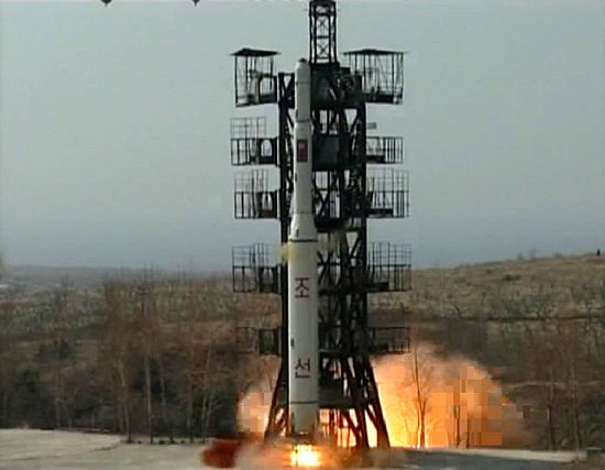 This file photo shows North Korea's launch of the Unha-2 rocket on April 5, 2009.