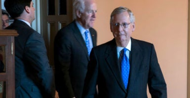Senate Majority Leader Mitch McConnell, R-Ky., used the nuclear option Thursday to clear the way for a simple majority to confirm Neil Gorsuch. (Photo: Shawn Thew/EPA/Newscom)