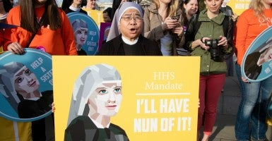Nuns rally outside the U.S. Supreme Court on Tuesday, arguing the government shouldn't force them to facilitate access to birth control and Plan B. (Photo: Jeff Malet/The Becket Fund)