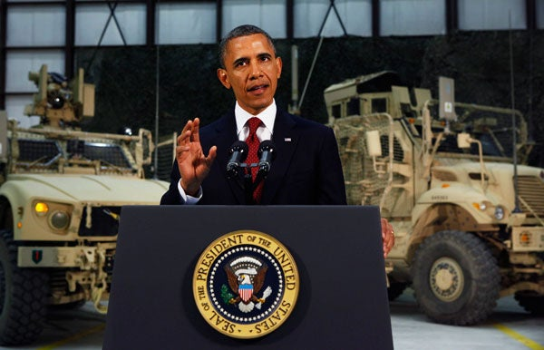 President Barack Obama delivers an address to the American people on US policy and the war in Afghanistan during his visit to Bagram Air Base