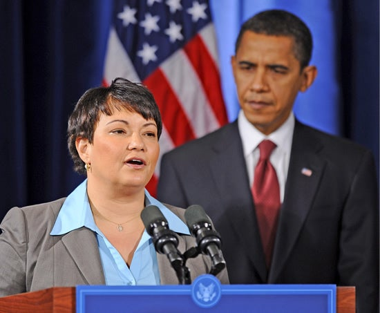 Barack Obama and Lisa Jackson, head of the Environmental Protection Agency