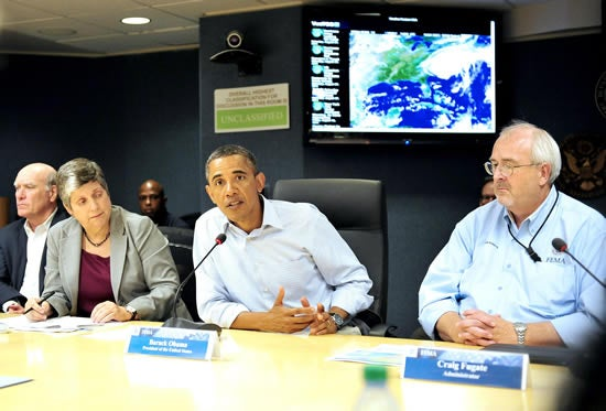 President Barack Obama participates in the midday daily video teleconference led by FEMA at FEMA Headquarters in Washington, D.C., USA, on 27 August 2011, to monitor the federal response to damage caused by Hurricane Irene. EPA/Ron Sachs / POOL