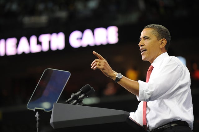 US President Barack Obama holds health-care rally at the University of Maryland