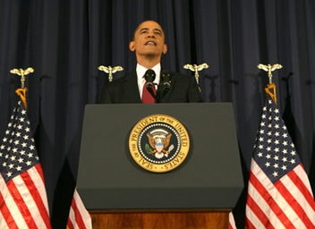 U.S. President Barack Obama speaks about the conflict in Libya during an address at the National Defense University in Washington March 28, 2011. REUTERS/Larry Downing