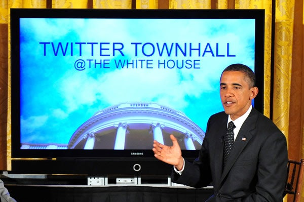 President Barack Obama hosts the first White House Twitter Town Hall meeting. July 6, 2011