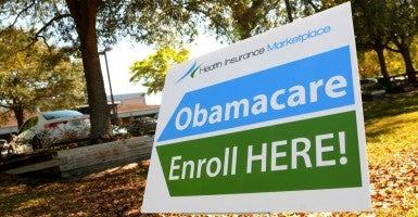 An Obamacare sign outside a health insurance marketplace enrollment center in Orlando, Fla. (Photo: Paul Hennessy/Polaris/Newscom)